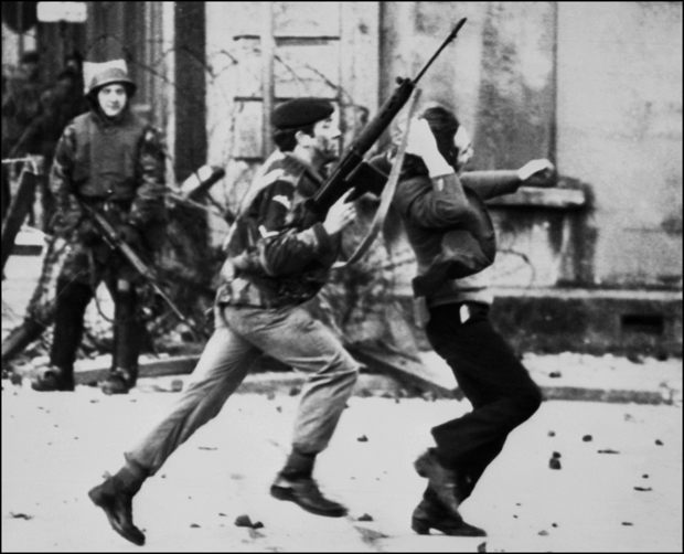 "A British soldier drags a Catholic protester during the ""Bloody Sunday"" killings. THOPSON/AFP/Getty Images"
