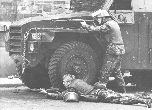 British troops in Northern Ireland Engaging IRA Snipers, 1971