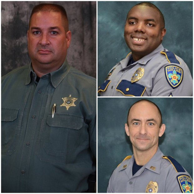 Police Officers  Murdered in Baton Rouge (L to R): Brad Garafola, Montrell Jackson, Mattew Gerald.