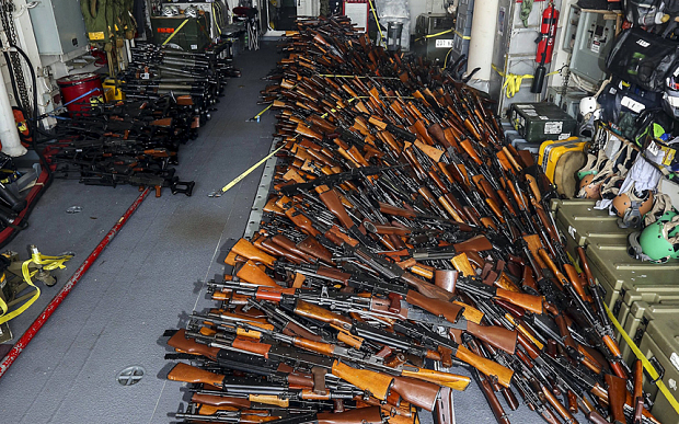 A handout photo from the Australian Defence Force shows what they say are weapons seized from a fishing vessel which was boarded off the coast of Oman, March 2, 2016. An Australian Navy ship seized a huge cache of weapons near Oman's coast from the fishing vessel bound for Somalia, the navy said on March 8, 2016, exposing a possible violation of a U.N. Security Council arms embargo. Picture taken March 2, 2016. REUTERS/ABIS Sarah Ebsworth/Australian Defence Force/Handout via Reuters ATTENTION EDITORS - THIS PICTURE WAS PROVIDED BY A THIRD PARTY. REUTERS IS UNABLE TO INDEPENDENTLY VERIFY THE AUTHENTICITY, CONTENT, LOCATION OR DATE OF THIS IMAGE. IT IS DISTRIBUTED EXACTLY AS RECEIVED BY REUTERS, AS A SERVICE TO CLIENTS. FOR EDITORIAL USE ONLY. NOT FOR SALE FOR MARKETING OR ADVERTISING CAMPAIGNS. NO RESALES. NO ARCHIVE.