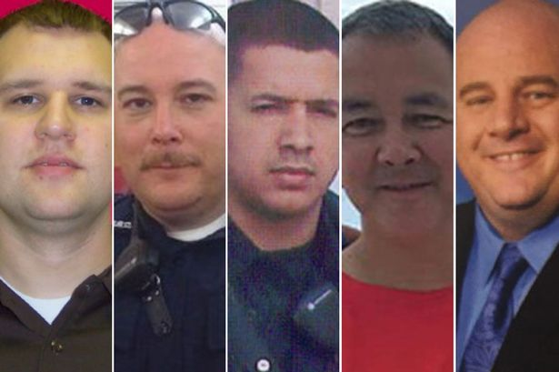 Police Officers Murdered in Dallas (L to R) Michael Kroll, Brent Thompson, Patrick Zamarripa, Michael Smith, Lorne Ahrens.