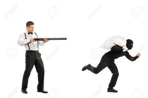 Angry guy with rifle shooting at a burglar with a stolen bag isolated on white background
